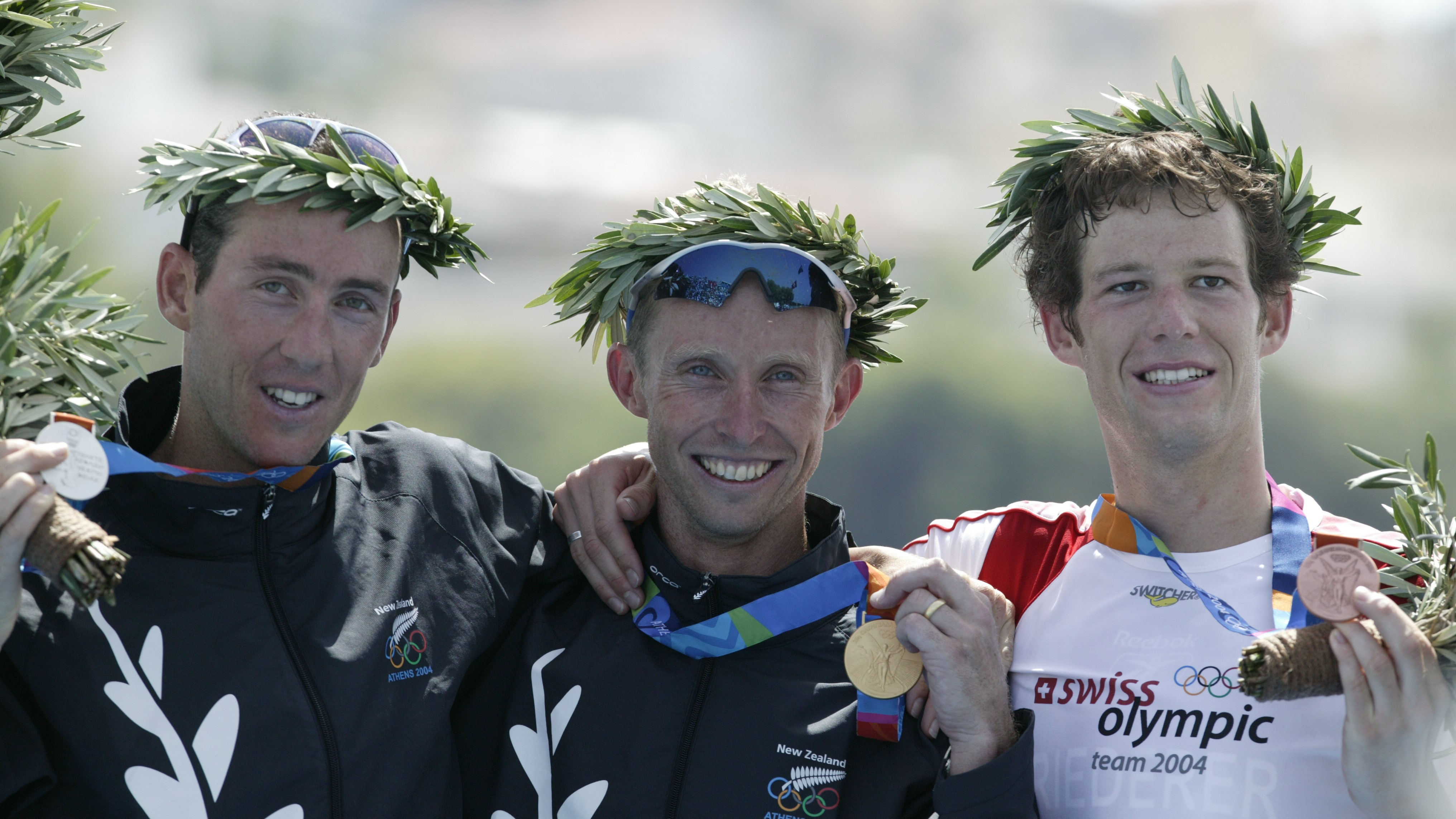 The 3 male medallists at the Athens 2004 Olympics: Jan Rehula (CZE) - Silver, Hamish Carter (NZL) - Gold, Sven Riederer(SUI) - Bronze