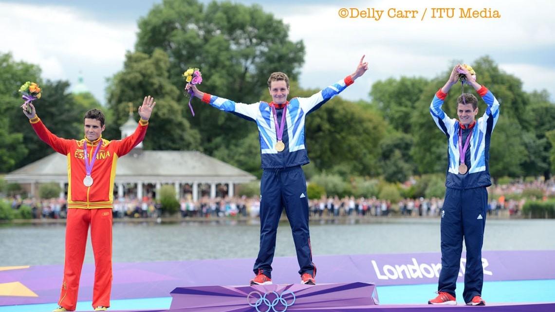 The 3 male medallists at the London 2012 Olympics:  Javier Gomez Moya (ESP) - Silver, Alistair Brownlee (GBR) - Gold, Jonathan Brownlee (GBR) - Bronze