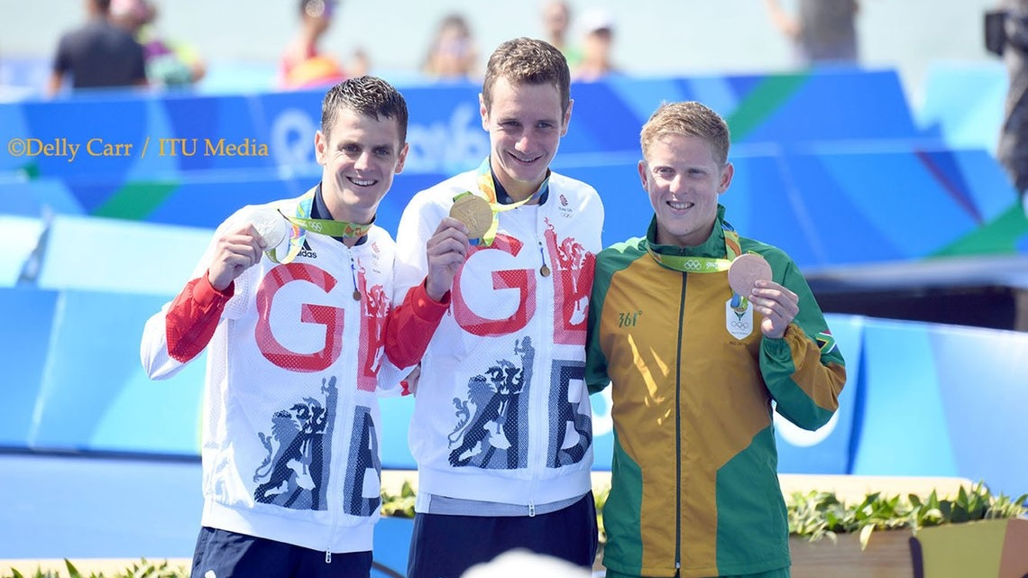 The 3 male medallists at the Rio 2016 Olympics:  Jonathan Brownlee (GBR) - Silver, Alistair Brownlee (GBR) - Gold, Henri Schoeman (RSA)