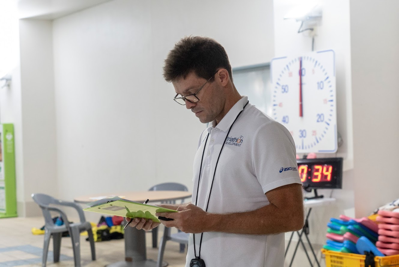 Image of a coach looking at a clipboard