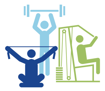Icon image showing 3 people using 3 different strength equipment machines