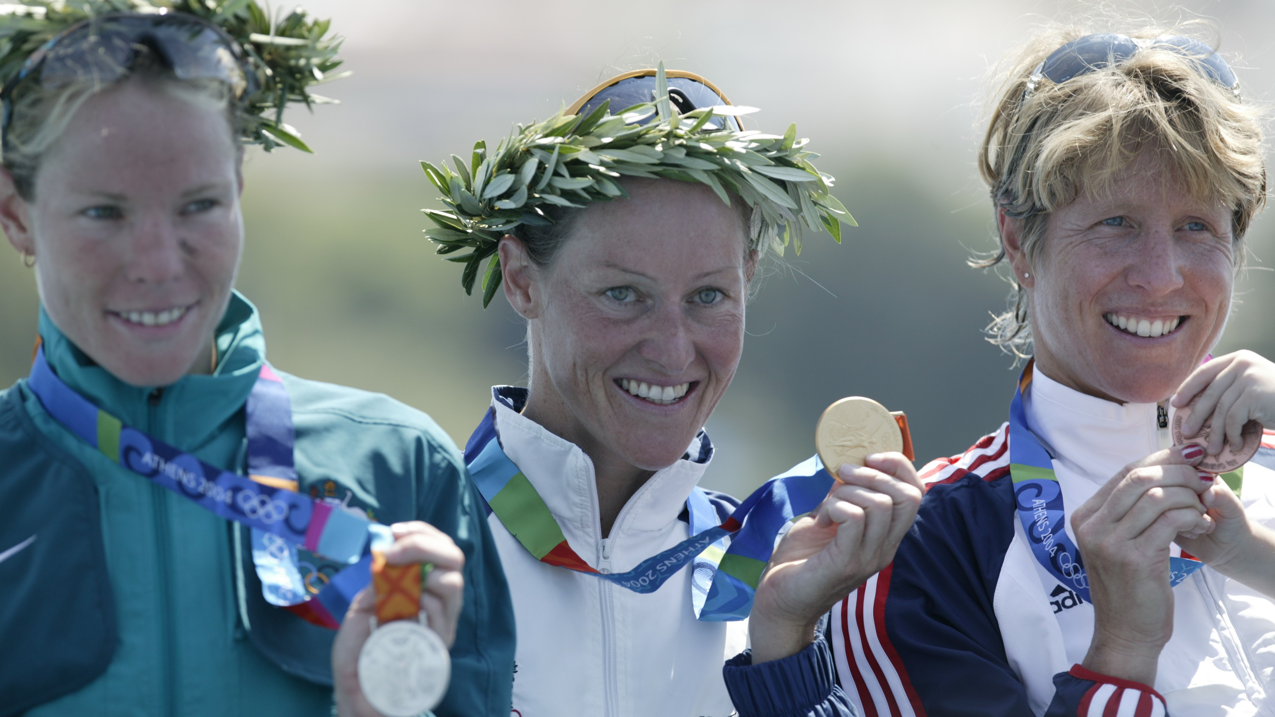 The 3 medallists at the Athens 2004 Olympics
